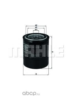 Масляный фильтр (Mahle/Knecht) OC1091 (фото, вид 1)
