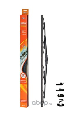 "Щетка стеклоочистителя 600 мм (24"") каркасная, 4 адаптера (AIRLINE) AWBK600"