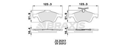 Комплект тормозных колодок, дисковый тормоз (BRAXIS) AA0025