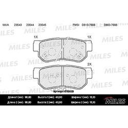 Колодки тормозные HYUNDAI GETZ/MATRIX/SANTA FE/SONATA/TUCSON/KIA SPORTAGE задние (Miles) E110033