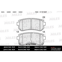 Колодки тормозные KIA CEED/RIO/SPORTAGE/HYUNDAI ACCENT/i20/i30/ix35 задние (Miles) E110009