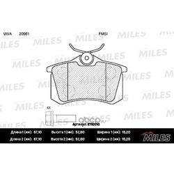 Колодки тормозные AUDI 96-/CITROEN 99-/RENAULT 98-/PEUGEOT 00-… (Miles) E110010