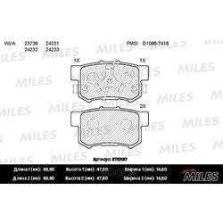Колодки тормозные HONDA ACCORD 2.0-2.4 АКПП 08-/CR-V II 02-06/FR-V 05- задние (Miles) E110187