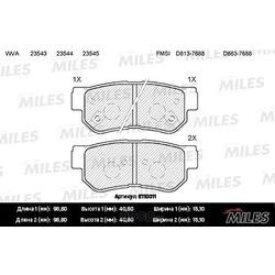 Колодки тормозные HYUNDAI GETZ/MATRIX/SANTA FE/SONATA/TUCSON/KIA SPORTAGE задние (Miles) E110011