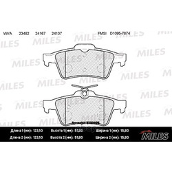 Колодки тормозные FORD FOCUS II/III/MAZDA 3/OPEL VECTRA C/VOLVO S40 задние (Miles) E110005