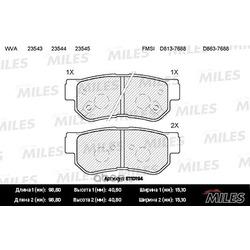Колодки тормозные HYUNDAI GETZ/MATRIX/SANTA FE/SONATA/TUCSON/KIA SPORTAGE задние (Miles) E110194