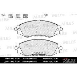 Колодки тормозные CHEVROLET LANOS/LACETTI/REZZO/DAEWOO NEXIA/NUBIRA/LEGANZA пер. (Miles) E100032