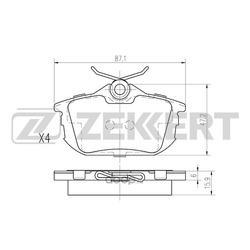 Колодки торм. диск. зад Mitsubishi Carisma (DA) 96- Colt VI 02- Volvo S40 I 96- V40 I 95- (Zekkert) BS2226