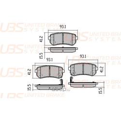 Колодки тормозные дисковые | зад | (UBS) B1103012