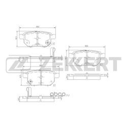 Колодки торм. диск. зад Toyota Auris I 07- Corolla (E150) 07- Prius III 09- Yaris II 06- (Zekkert) BS1973