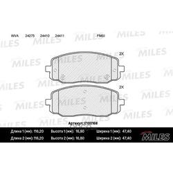 Колодки тормозные HYUNDAI i10 08-/KIA PICANTO 04- передние (Miles) E100168