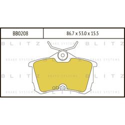 Колодки тормозные дисковые (Blitz) BB0208