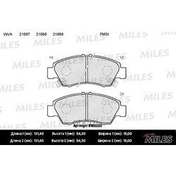 Колодки тормозные HONDA CIVIC 1.3-1.6 91-01/JAZZ 1.2/1.4 02- передние (Miles) E100222