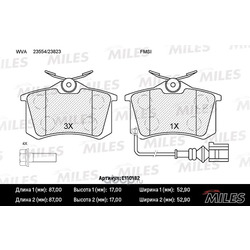 Колодки тормозные SEAT IBIZA 02-/SKODA FABIA 99-08/VW POLO 01- задние с датч. (Miles) E110182