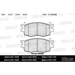 Колодки тормозные HYUNDAI ACCENT/i20/KIA RIO 05- передние (Miles) E100064