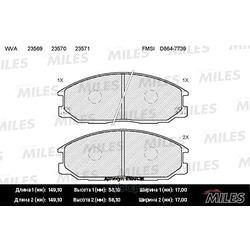 Колодки тормозные SSANGYONG REXTON 01- /HYUNDAI H-1/SANTA FE/TRAJET передние (Miles) E100138