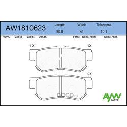 Колодки тормозные задние (AYWIparts) AW1810623