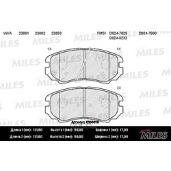 Колодки тормозные HYUNDAI TUCSON/KIA SPORTAGE 04- передние (Miles) E100019