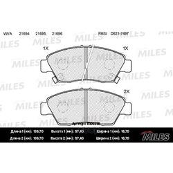 Колодки тормозные HONDA CIVIC 91-05 передние (Miles) E100219