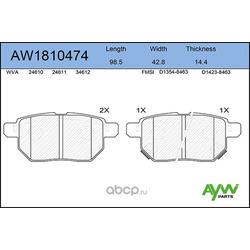 Колодки тормозные передние (AYWIparts) AW1810474