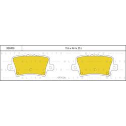 Колодки тормозные, комплект, задние (Blitz) BB0490