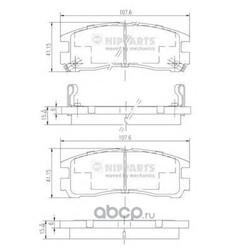 Комплект тормозных колодок, дисковый тормоз (Nipparts) J3615003
