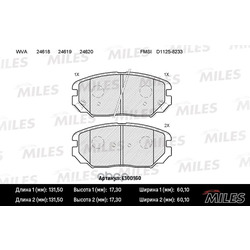 Колодки тормозные HYUNDAI SONATA V(NF)/KIA OPIRUS 05- передние (Miles) E100160