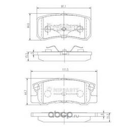 Комплект тормозных колодок, дисковый тормоз (Nipparts) J3615010