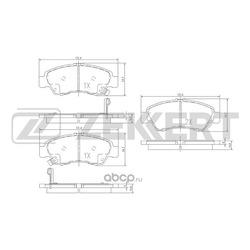Колодки торм. диск. перед Honda Civic V VI 91- Jazz I II 02- Logo (GA) 96- (Zekkert) BS1717
