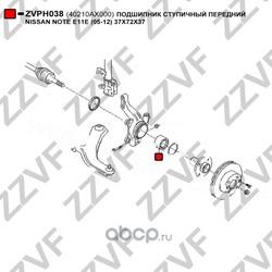 Подшипник ступичный передний 37X72X37 (ZZVF) ZVPH038
