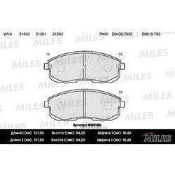 Колодки тормозные NISSAN JUKE/MAXIMA/TEANA/TIIDA/SUZUKI SX4 перед. с инд.износа (Miles) E100150