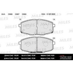 Колодки тормозные HYUNDAI i30 07-/KIA СEED 07-/CARENS 02- передние (Miles) E100053