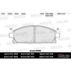 Колодки тормозные NISSAN PATHFINDER 97-04/X-TRAIL 01-07 передние (Miles) E100166