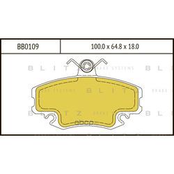 Колодки тормозные дисковые (Blitz) BB0109