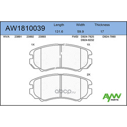 Колодки тормозные передние (AYWIparts) AW1810039