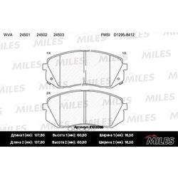Колодки тормозные HYUNDAI ix35 10-/KIA SPORTAGE 10-/CARENS 02- передние (Miles) E100055