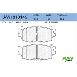 Колодки тормозные передние (AYWIparts) AW1810149