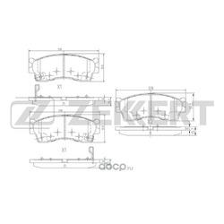Колодки торм.диск. Kia Carens I (FC) 99- Rio (DC) 00- Shuma II 01- Spectra 00- FR (Zekkert) BS1904