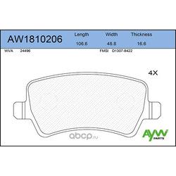 Колодки тормозные задние (AYWIparts) AW1810206