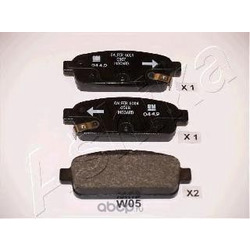 Колодки тормозные дисковые задние, комплект (Ashika) 510WW05