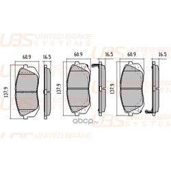 Колодки тормозные дисковые | перед | (UBS) B1103017
