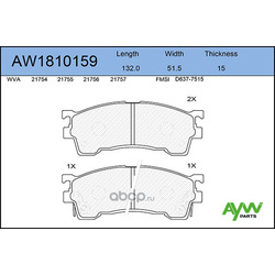 Колодки тормозные передние (AYWIparts) AW1810159