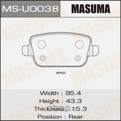 Колодки тормозные (Masuma) MSU0038