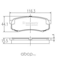 Колодки тормозные дисковые задние, комплект (Nipparts) J3612010