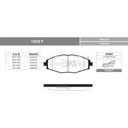 Колодки тормозные дисковые передние, комплект (Goodwill) 1033F