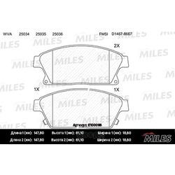 "Колодки тормозные CHEVROLET CRUZE/OPEL ASTRA J 16"""" 10- передние (Miles) E100096"