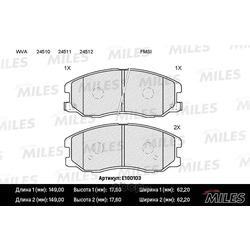Колодки тормозные CHEVROLET CAPTIVA/OPEL ANTARA 2.0D/2.4/3.2 07- передние (Miles) E100103