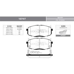 Колодки тормозные дисковые передние, комплект (Goodwill) 1074F