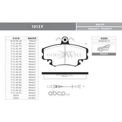 Колодки тормозные дисковые передние, комплект (Goodwill) 1013F
