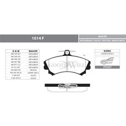 Колодки тормозные дисковые передние, комплект (Goodwill) 1014F